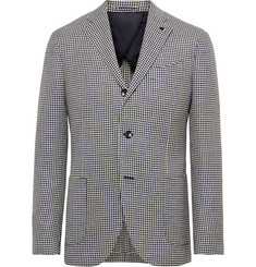Lardini Navy Houndstooth Wool, Linen and Silk-Blend Blazer