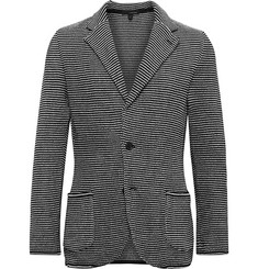 Lardini Slim-Fit Striped Cotton-Jacquard Knitted Blazer