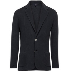 Lardini Midnight-Blue Slim-Fit Linen and Silk-Blend Blazer