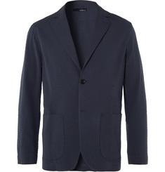 Lardini Navy Unstructured Cotton-Seersucker Blazer