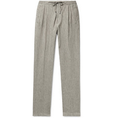 Lardini Miami Slim-Fit Pleated Mélange Linen Drawstring Trousers
