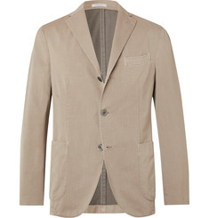 Boglioli Beige K-Jacket Slim-Fit Unstructured Micro-Herringbone Cotton-Blend Suit Jacket