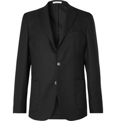 Boglioli Black Slim-Fit Unstructured Wool-Hopsack Blazer