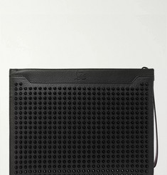 Christian Louboutin Skypouch Spiked Full-Grain Leather Pouch