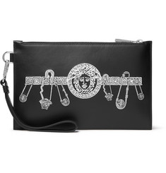 Versace Logo-Embroidered Leather Pouch