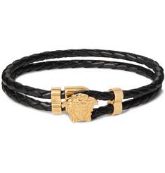 Versace Woven Leather and Gold-Tone Bracelet