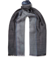 Loro Piana Fringed Colour-Block Silk and Linen-Blend Scarf