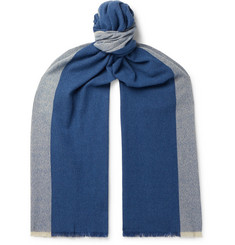 Loro Piana Fringed Colour-Block Baby Cashmere Scarf