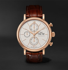 IWC SCHAFFHAUSEN Portofino Chronograph Automatic Chronograph 42mm 18-Karat Gold and Alligator Watch