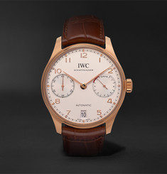 IWC SCHAFFHAUSEN - Portugieser Automatic 42mm 18-Karat Red Gold and Alligator Watch