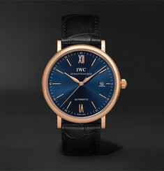 IWC SCHAFFHAUSEN Portofino Automatic 40mm 18-Karat Rose Gold and Alligator Watch