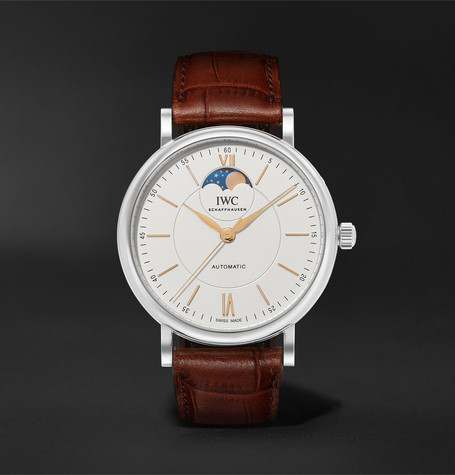 IWC SCHAFFHAUSEN Portofino Automatic 40mm Moon-Phase 40mm Stainless Steel and Alligator Watch, Ref. No. IW459401