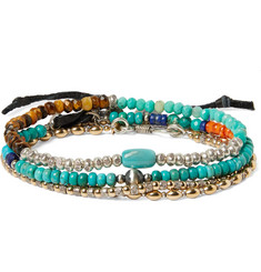 Peyote Bird Set of Three Sterling Silver, Turquoise and Multi-Stone Bracelets