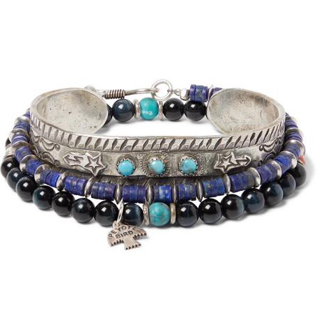 Peyote Bird Set of Three Sterling Silver, Turquoise, Tiger's Eye and Lapis Heishi Bracelets