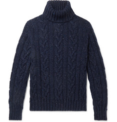 Kingsman Cable-Knit Donegal Wool and Cashmere-Blend Rollneck Sweater