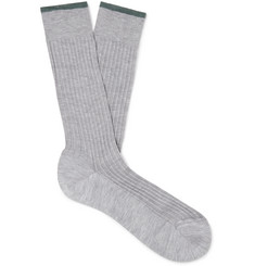 Ermenegildo Zegna Ribbed Mélange Cotton-Blend Socks