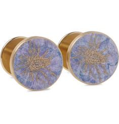 Alice Made This + Jessica Rose Bird Thistle Patina Brass Cufflinks