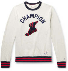 Todd Snyder + Champion Logo-Appliquéd Contrast-Tipped Mélange Loopback Cotton-Jersey Sweatshirt