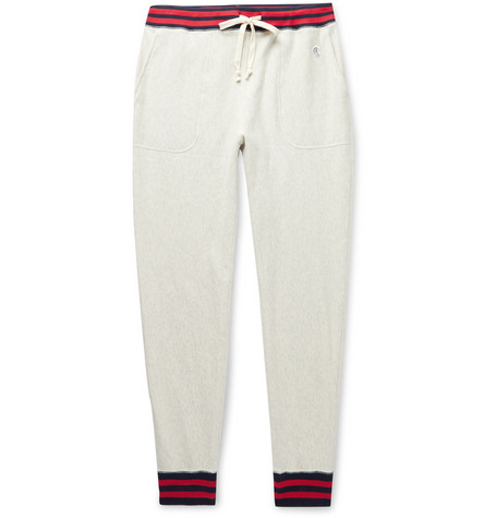 Champion Pants SLIM-FIT TAPERED LOGO-APPLIQUÉD CONTRAST-TIPPED MÉLANGE LOOPBACK COTTON-JERSEY SWEATPANTS