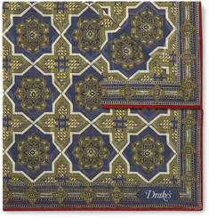 Drake's Printed Cotton and Silk-Blend Pocket Square