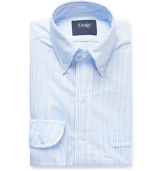 Drake's Sky-Blue Button-Down Collar Striped Cotton Oxford Shirt