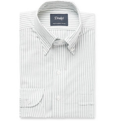 Drake's Green Button-Down Collar Striped Cotton Oxford Shirt