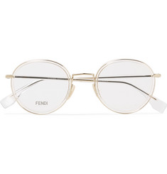 Fendi Round-Frame Acetate and Gold-Tone Optical Glasses