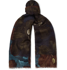 Dries Van Noten Printed Cotton and Linen-Blend Scarf