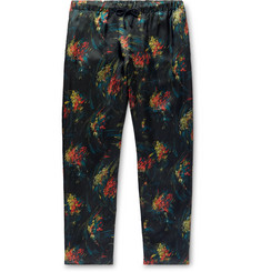 Dries Van Noten Slim-Fit Floral-Print Matte-Satin Drawstring Trousers