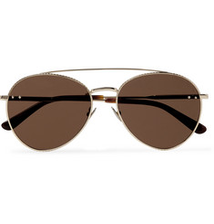 Bottega Veneta Round-Frame Engraved Gold-Tone Sunglasses