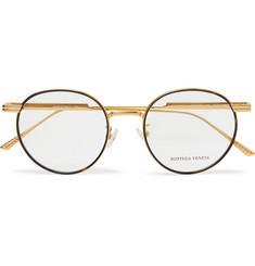 Bottega Veneta Round-Frame Tortoiseshell Acetate and Gold-Tone Optical Glasses