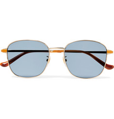 Gucci Square-Frame Gold-Tone And Enamel Sunglasses