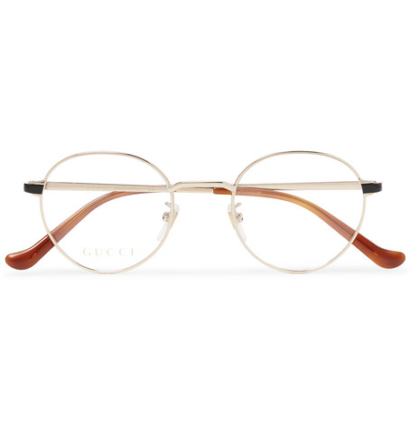 Round Frame Gold Tone And Acetate Optical Glasses by Gucci