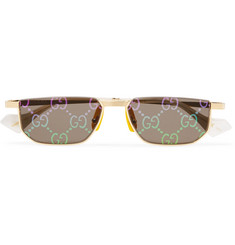 Gucci Rectangle-Frame Gold-Tone Mirrored Sunglasses