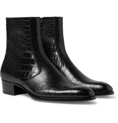 Saint Laurent Wyatt Croc-Effect Leather Chelsea Boots