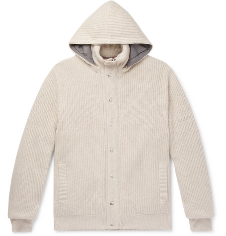 Brunello Cucinelli Ribbed Cashmere and Shell Hooded Down Cardigan