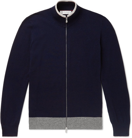 Brunello Cucinelli Slim-Fit Contrast-Tipped Mélange Cashmere Zip-Up Sweater