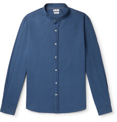Brunello Cucinelli Grandad-Collar Cotton-Chambray Shirt