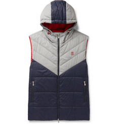 Brunello Cucinelli Colour-Block Quilted Nylon Hooded Down Gilet