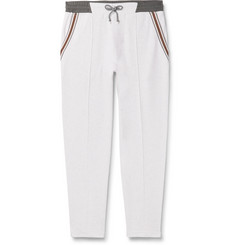 Brunello Cucinelli Slim-Fit Tapered Stripe-Trimmed Melangé Cotton-Blend Jersey Sweatpants