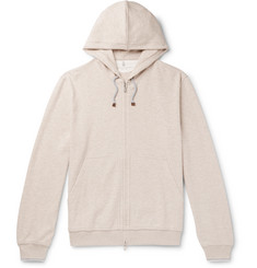 Brunello Cucinelli Contrast-Tipped Mélange Cotton-Jersey Zip-Up Hoodie