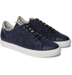 Brunello Cucinelli Leather-Trimmed Brushed-Suede Sneakers