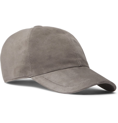 Brunello Cucinelli Accessories LEATHER-TRIMMED SUEDE BASEBALL CAP