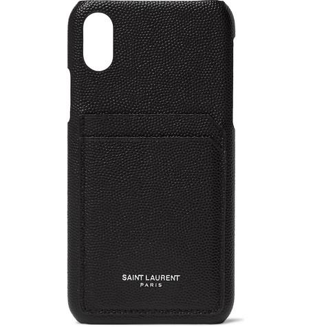 Pebble Grain Leather I Phone Xs Case by Saint Laurent