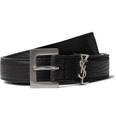 Saint Laurent 2cm Black Full-Grain Leather Belt