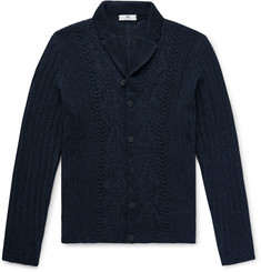 Inis Meáin Shawl-Collar Cable-Knit Linen and Silk-Blend Cardigan