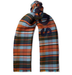 Acne Studios Victoria Logo-Print Checked Wool Scarf