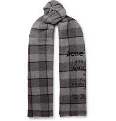 Acne Studios Cassiar Fringed Printed Checked Wool Scarf