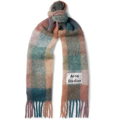 Acne Studios Vally Fringed Logo-Appliquéd Checked Knitted Scarf