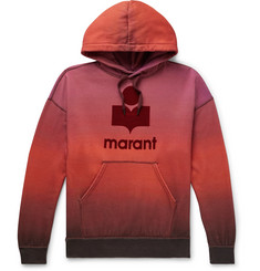 Isabel Marant Logo-Flocked Dégradé Cotton-Blend Jersey Hoodie